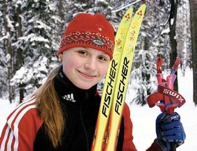 Sportswoman-skier